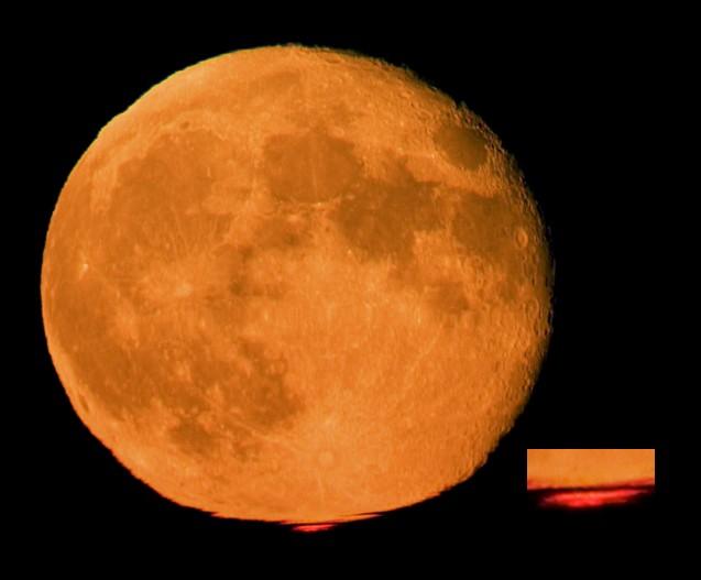Lune orange, rayon rouge