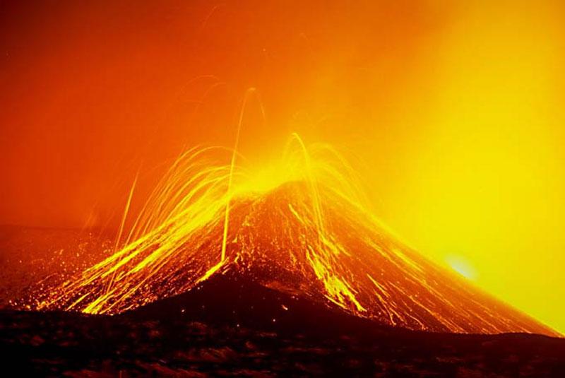 Bulles de magma au Mont Etna