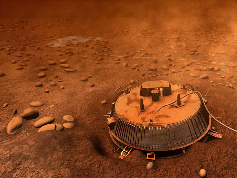 Vue d\'artiste de Huygens sur Titan
