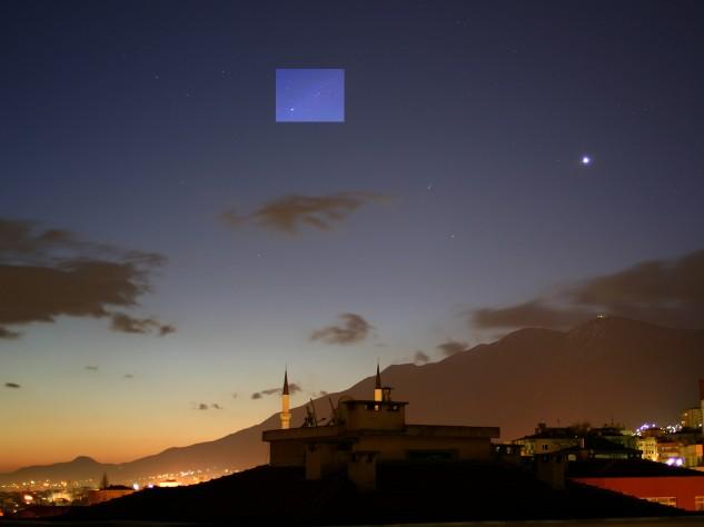 Vénus et la comète Pojmanski