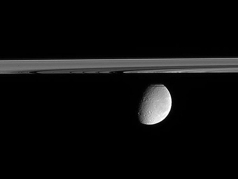 Légèrement en contrebas du plan des anneaux de Saturne