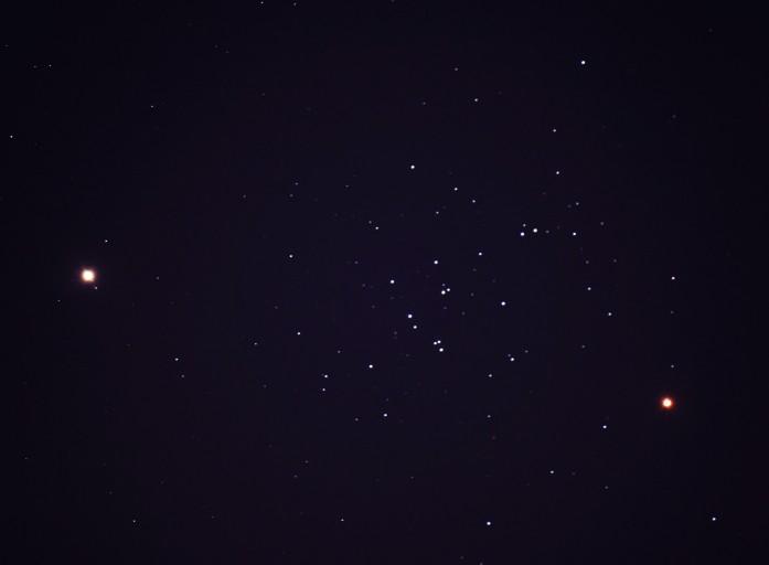 Saturne, Mars et l'amas de la Ruche.