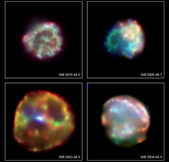 Quatre rémanents de supernovae