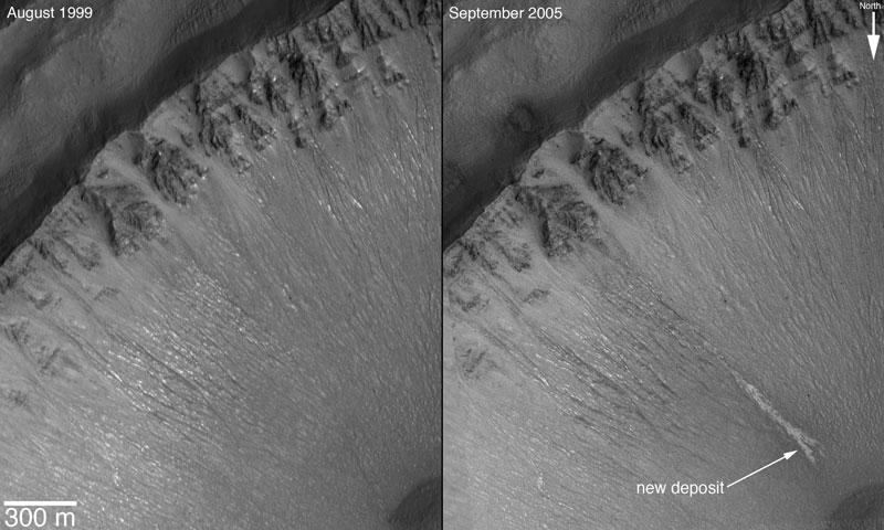 Dépôts clairs signalant un écoulement d\'eau sur Mars