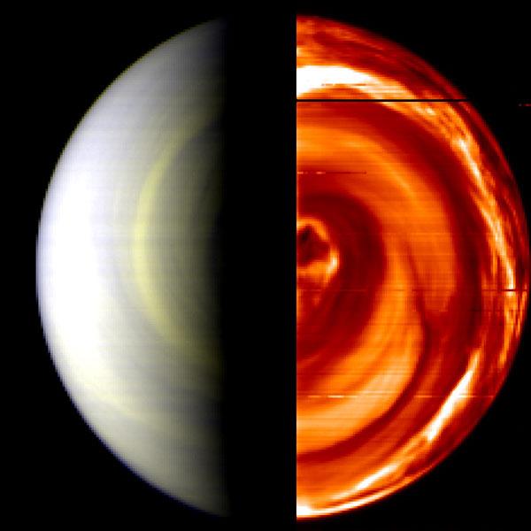 Double vortex au pôle sud de Vénus