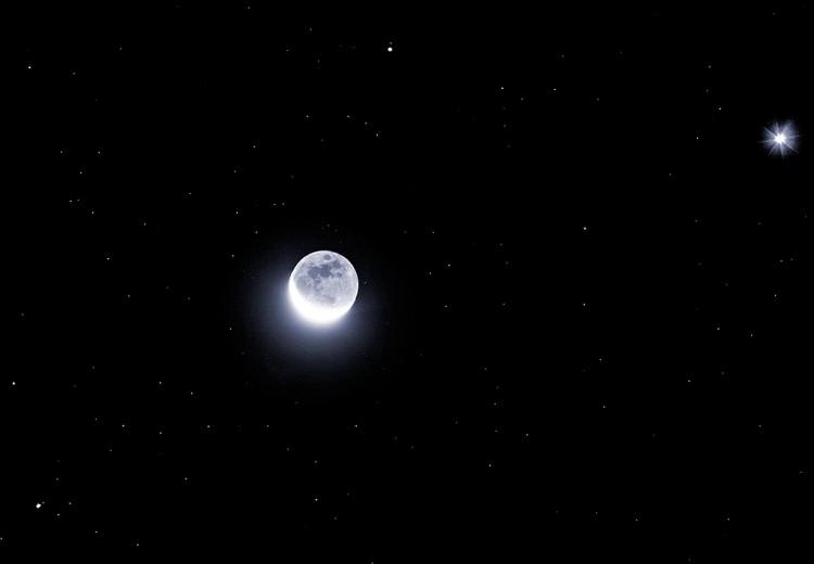 Brillantes planètes et croissant de Lune