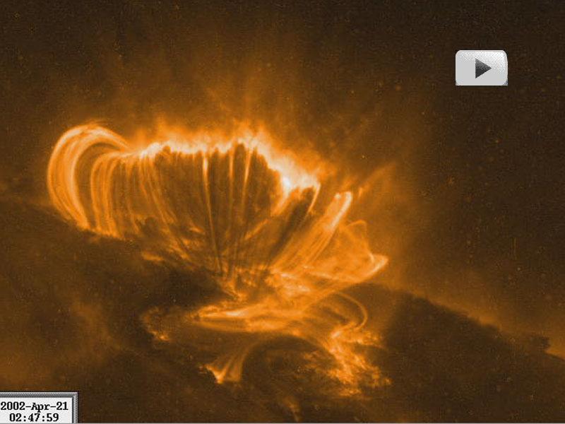 Région d'éruption de classe X sur le Soleil