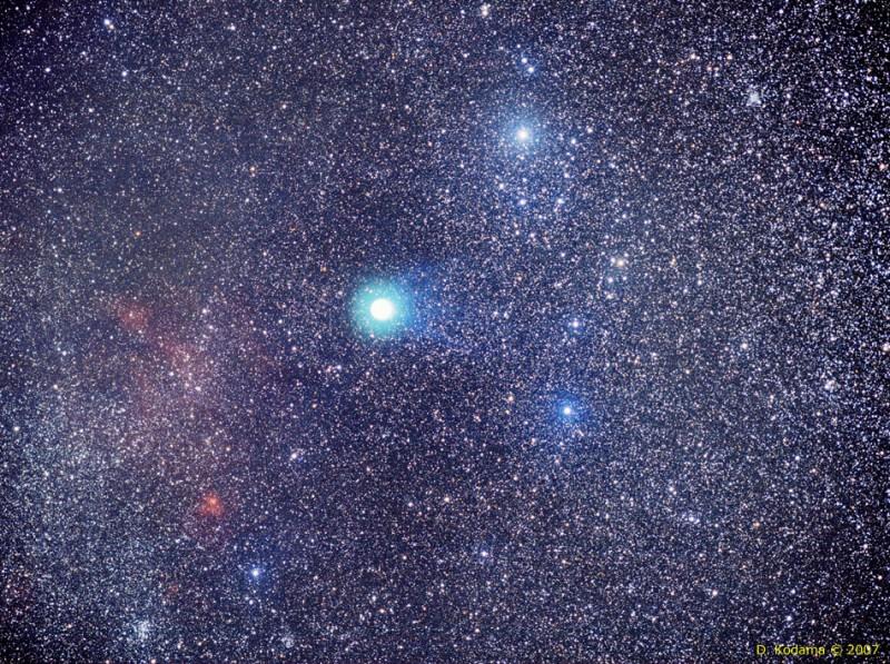 Paysage céleste à la comète