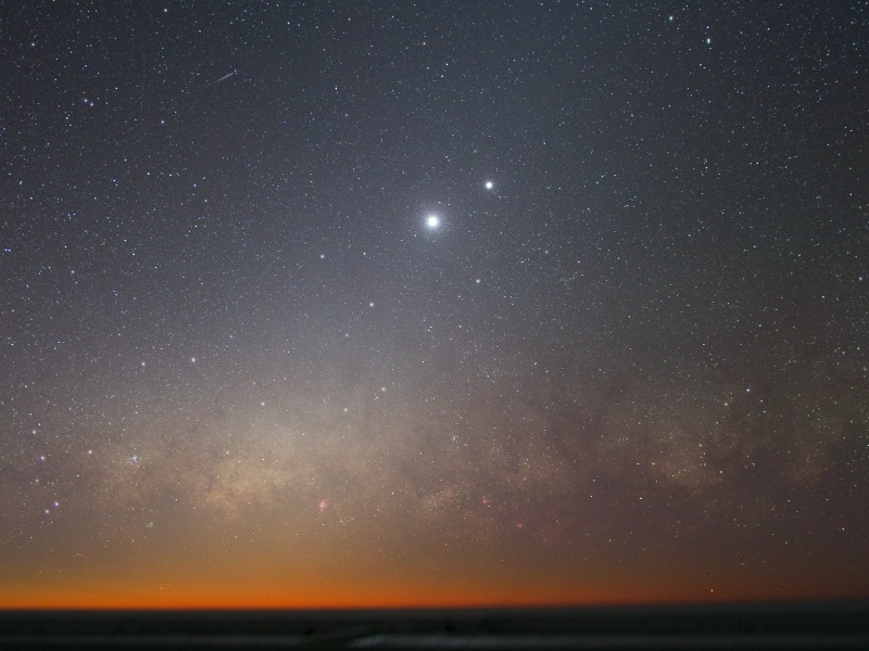 Vénus et Jupiter dans le ciel du soir