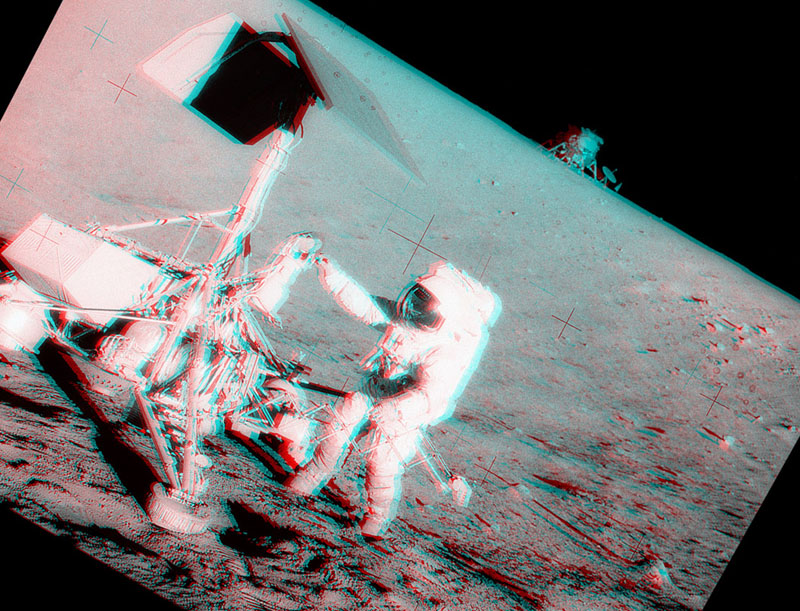 Apollo 12 et Surveyor 3 en stéréo