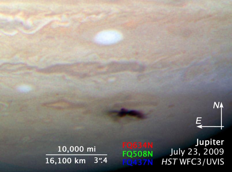 L'impact sur Jupiter vu par Hubble