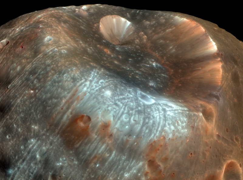 Le cratère Stickney sur Phobos