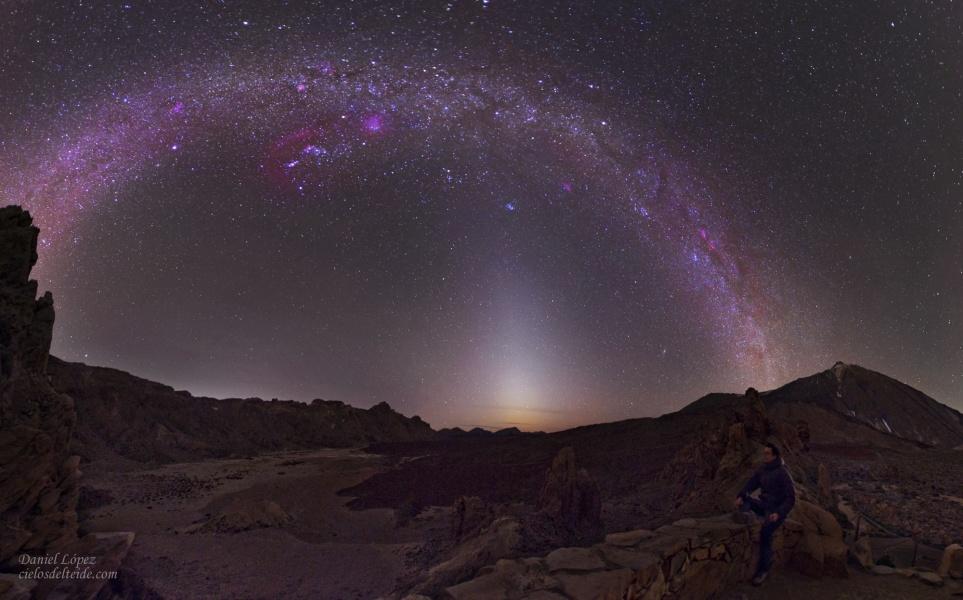 Lumière zodiacale et Voie lactée à Ténérife