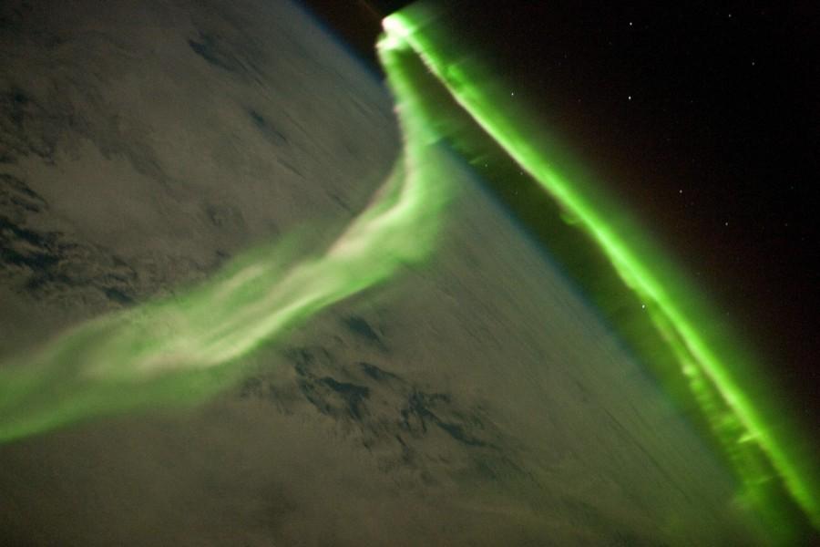 En survolant une aurore australe