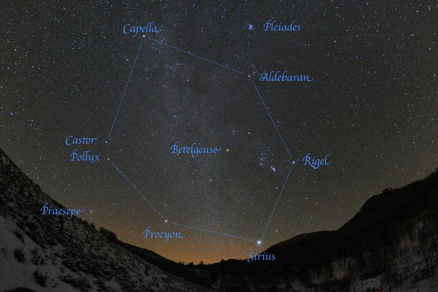 Hexagone d\'hiver au-dessus du Colorado - Dans le ciel hivernal de l\'hémisphère nord, six étoiles composent l\'astérisme hexagonal : Aldébaran, Capella, Castor (et Pollux), Procyon, Rigel et Sirius