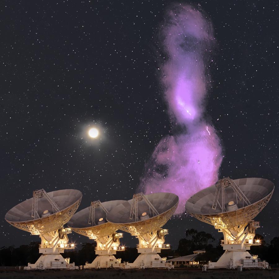 Les jets radio de Centaurus A comparés à la Lune