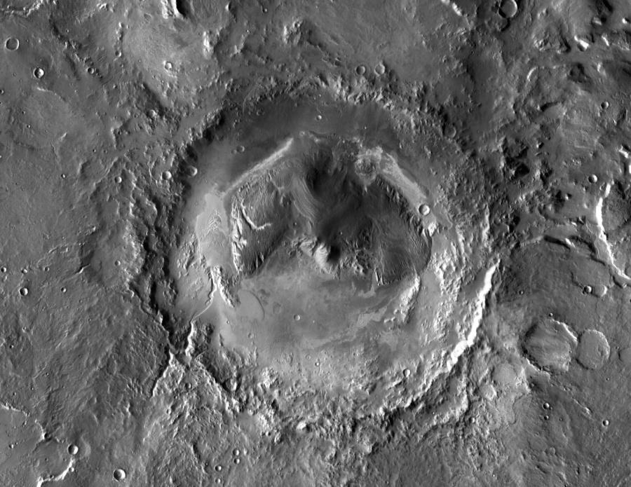 Le cratère Gale sur Mars, objectif de Curiosity