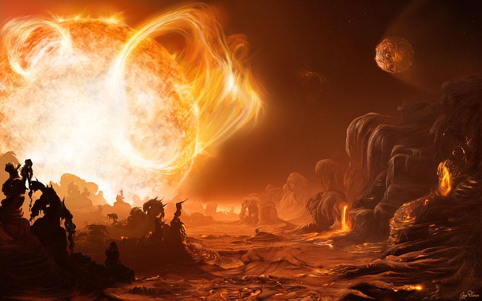 Lever de Soleil à haut risque sur Gliese 876d