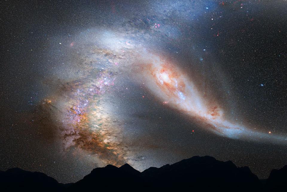 Collision entre la Voie lactée et Andromède