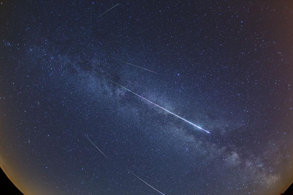 Perséides dans la Voie lactée