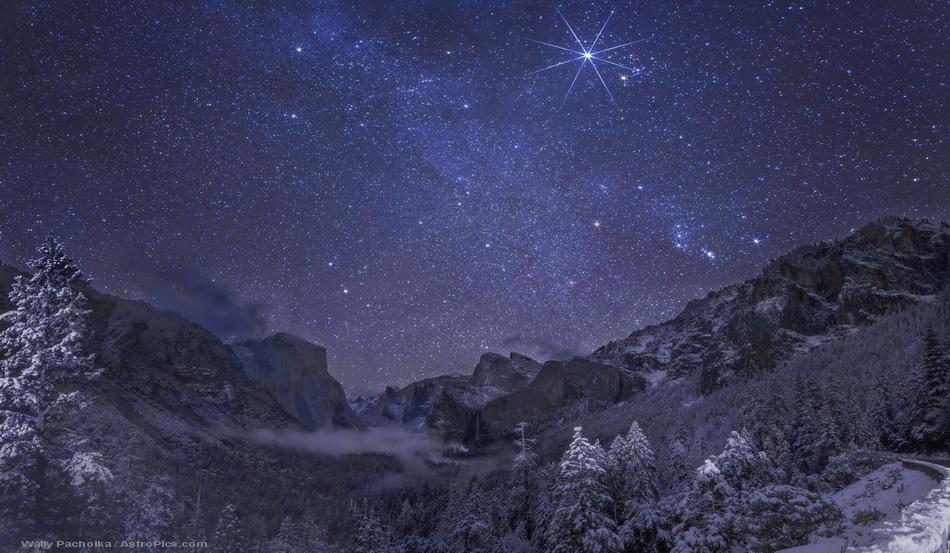 Nuit d\'hiver dans la vallée de Yosemite