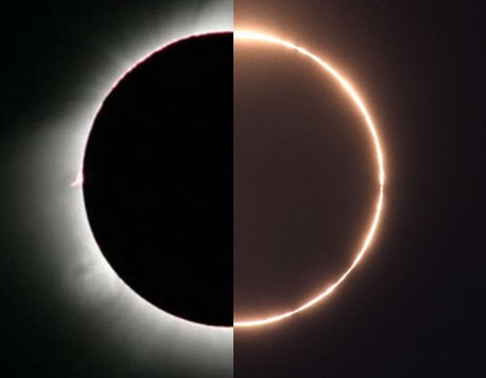 Rare éclipse hybride aujourd\'hui