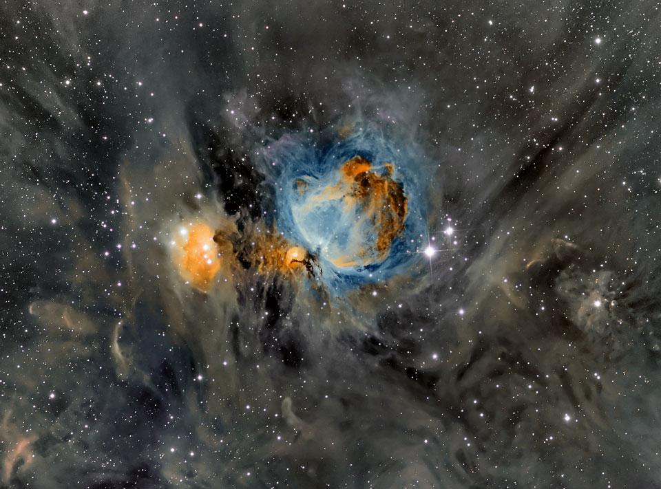 La nébuleuse d\'Orion dans la poussière