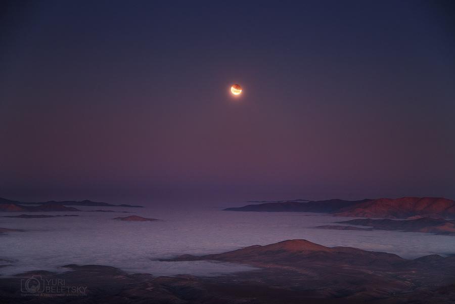 Eclipse au coucher de la Lune
