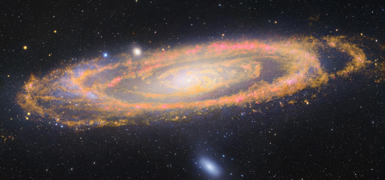 La galaxie d\'Andromède dans l\'infrarouge ET le visible