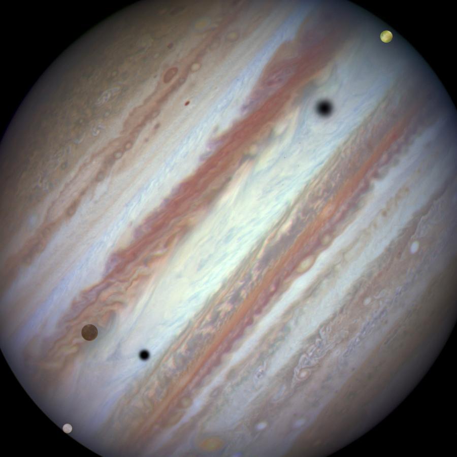 Triple conjonction de lunes sur Jupiter