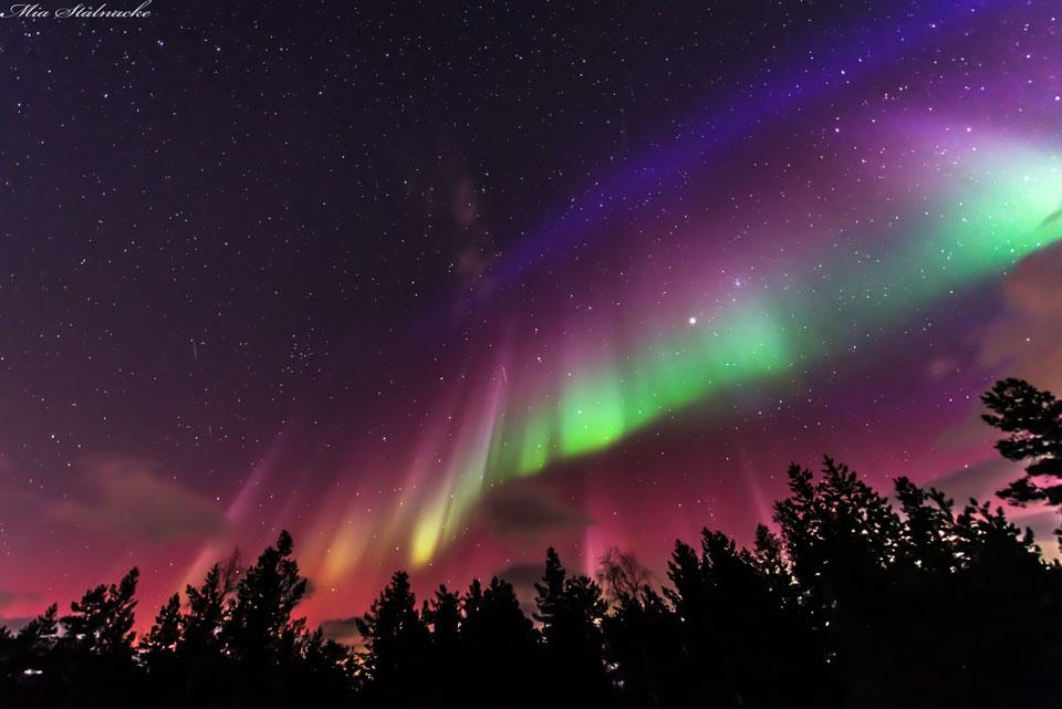 Drapeau d\'aurores sur la Suède