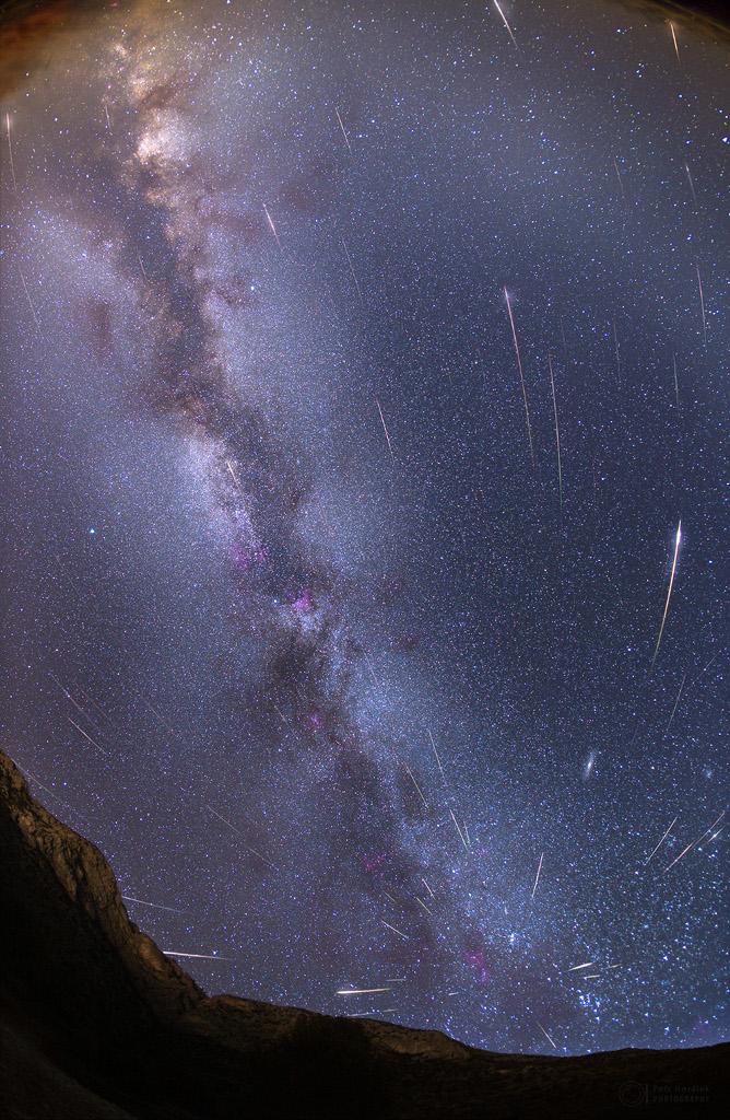 Météorites par une nuit sans Lune et la Voie Lactée