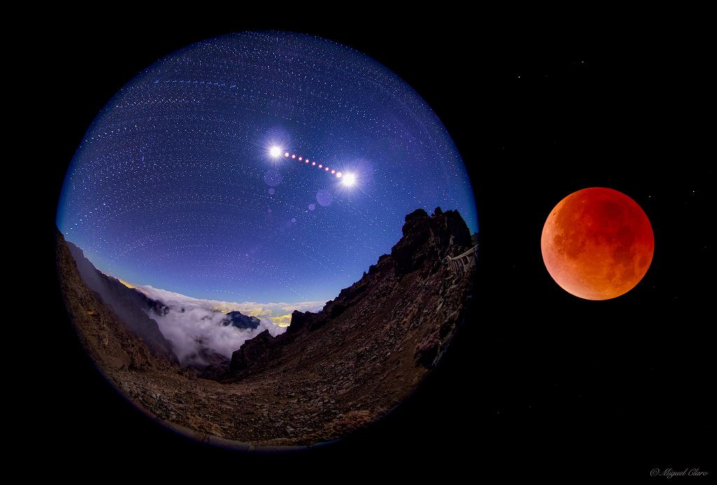 Eclipse de Lune dans le ciel de La Palma