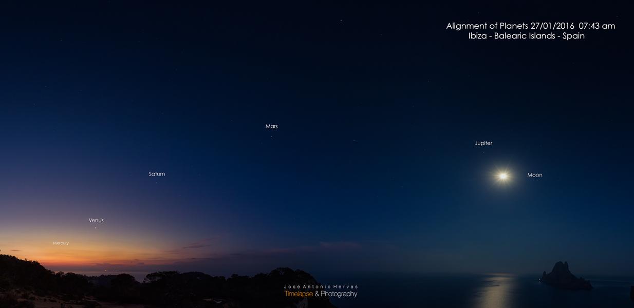 Cinq planètes à l\'aube