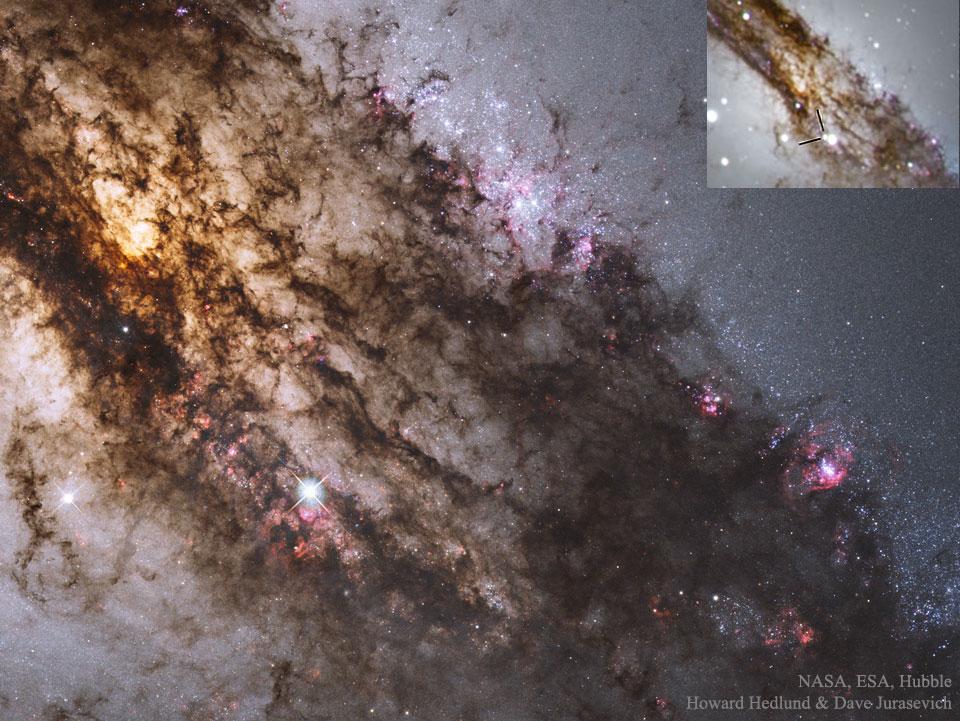 Une supernova à travers la poussière galactique