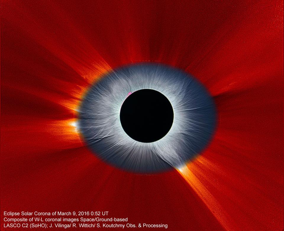 La couronne solaire vue de la Terre et de l\'espace