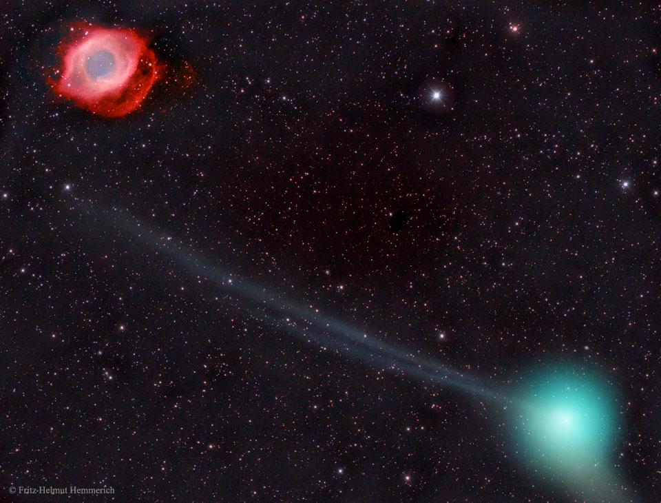 La comète PanSTARRS et la nébuleuse Helix