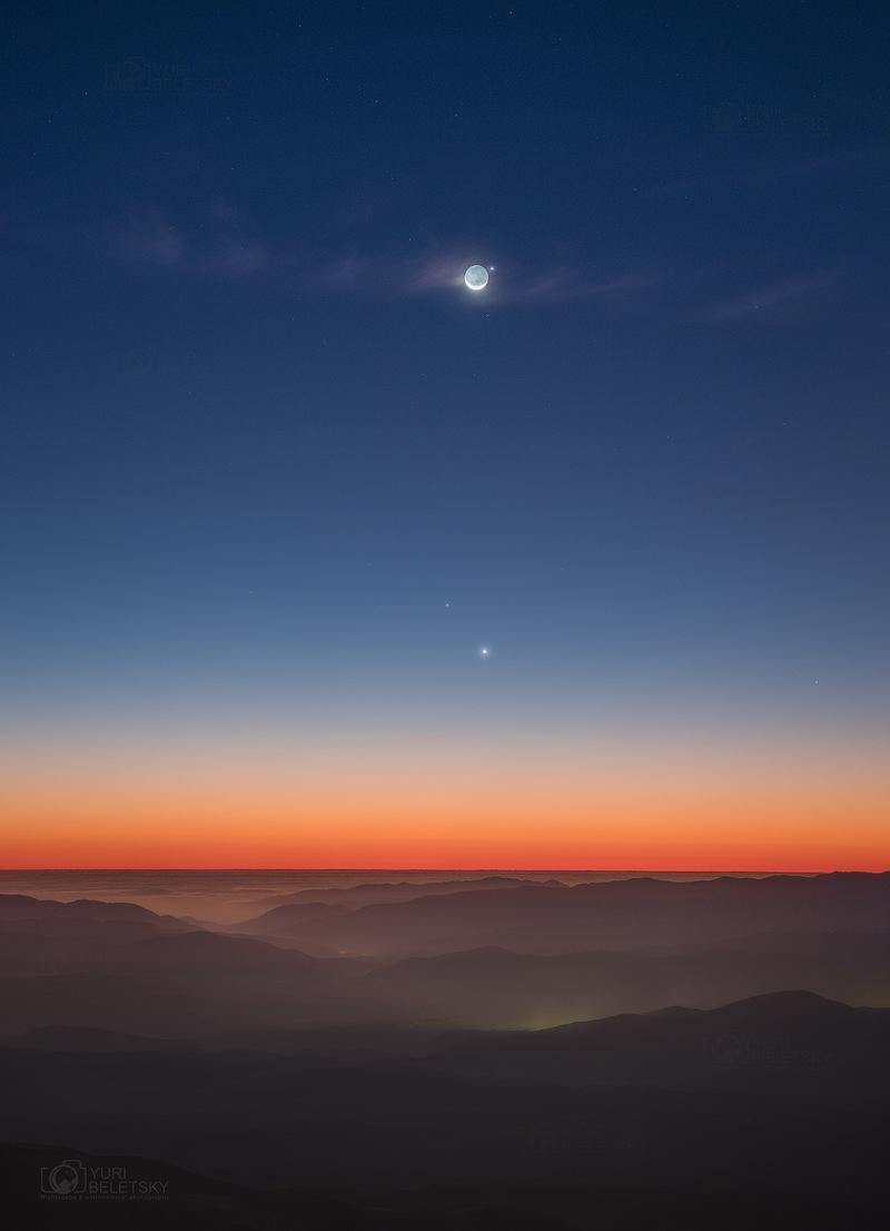 La Lune et Mercure depuis Las Campanas