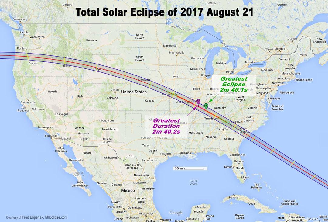 Plan de la bande de totalité de l\'éclipse solaire totale d\'août 2017