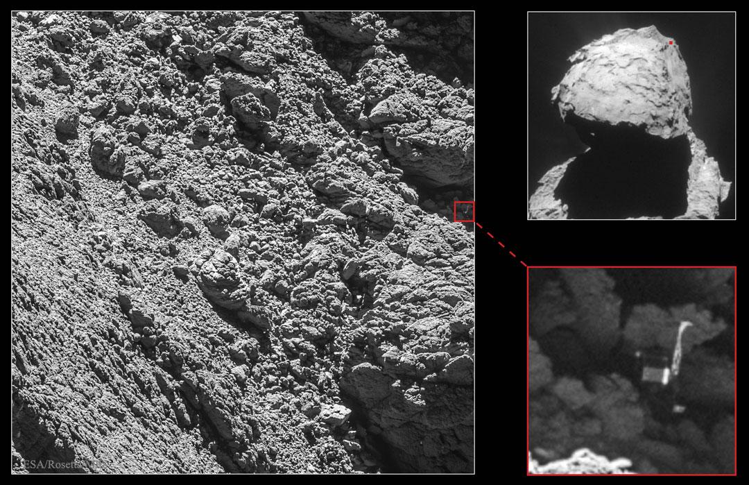 Philae retrouvé sur sa comète