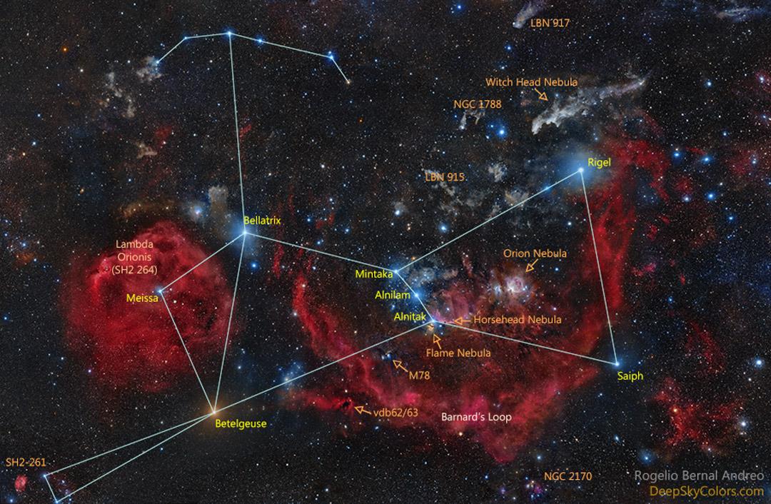 Noms d\'étoiles dans Orion