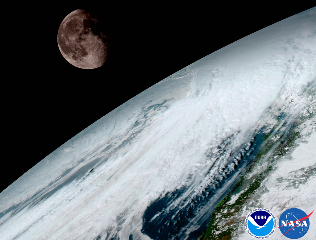 La Lune et la Terre vues par GOES-16
