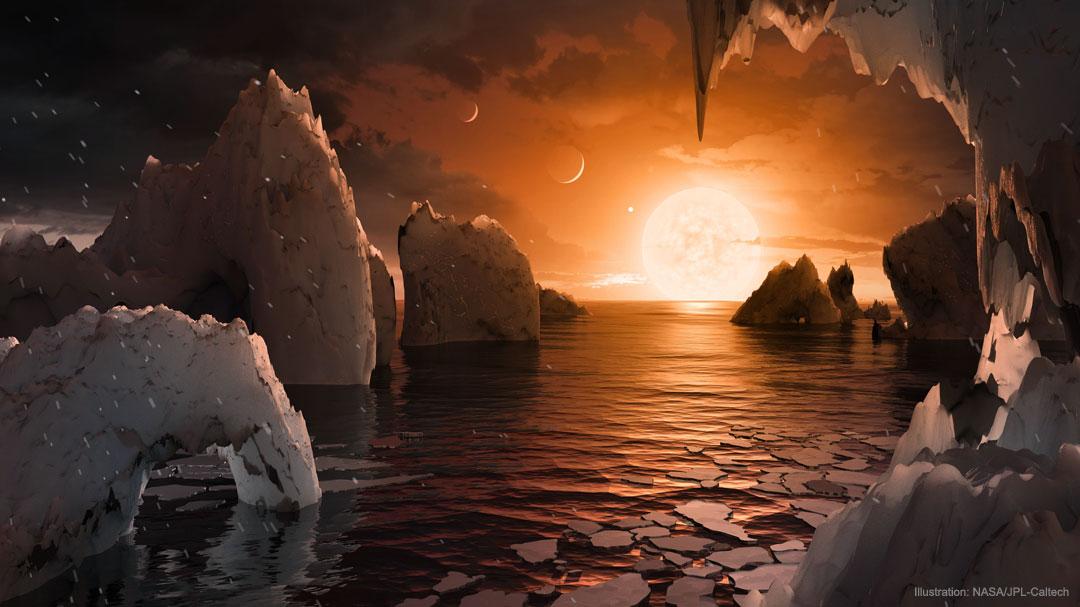 Impression d\'artiste de la surface de TRAPPIST-1f