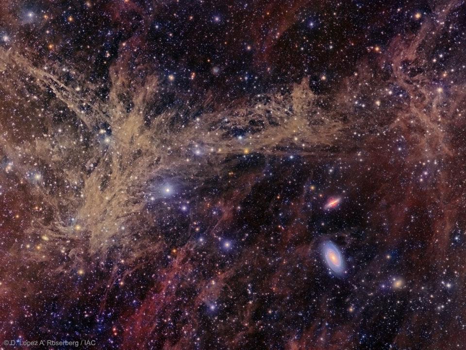 Le groupe galactique de M81 à travers un filament nébuleux