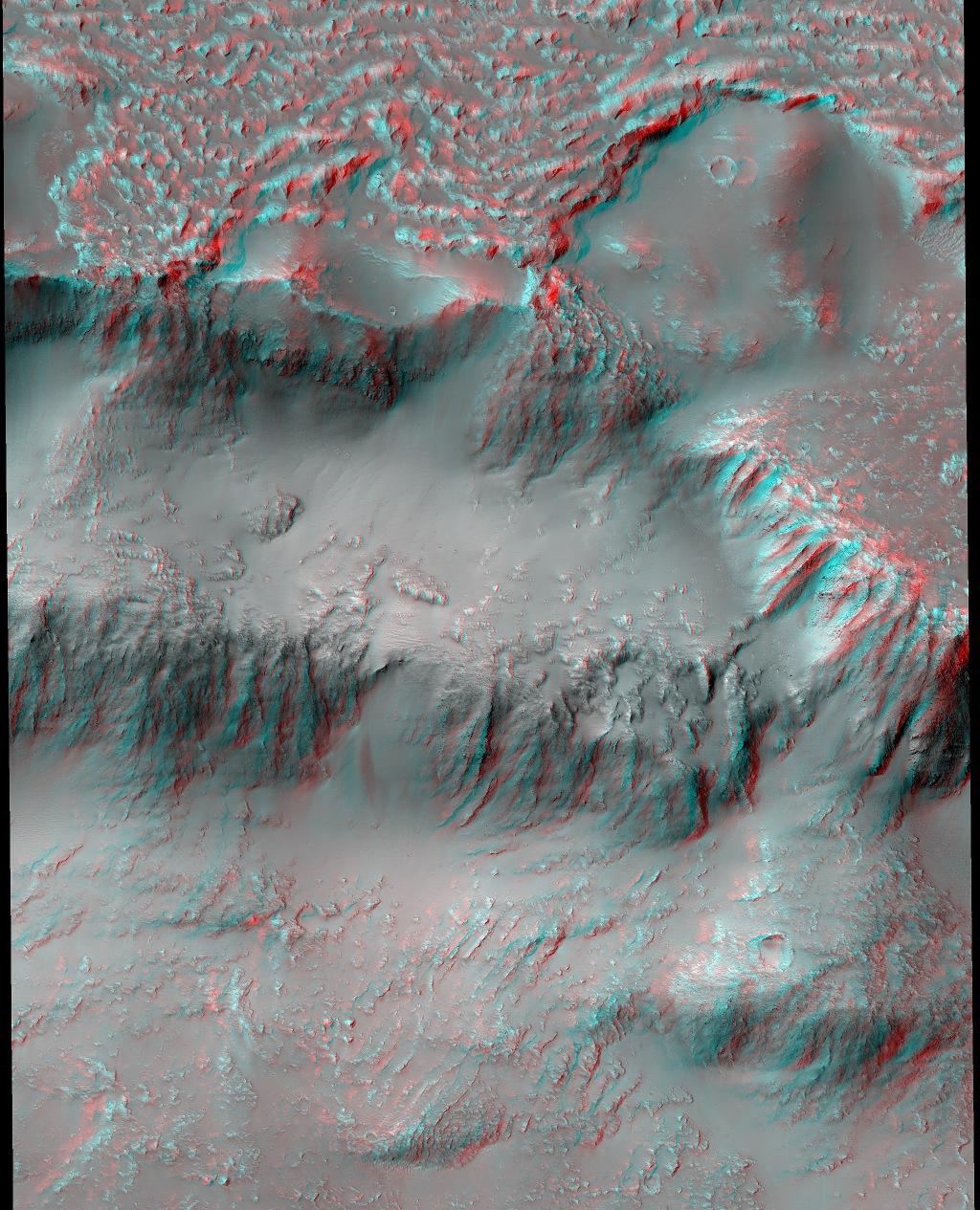 Coulées de lave martienne en 3D