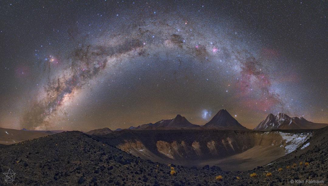 Voie lactée sur volcans chiliens
