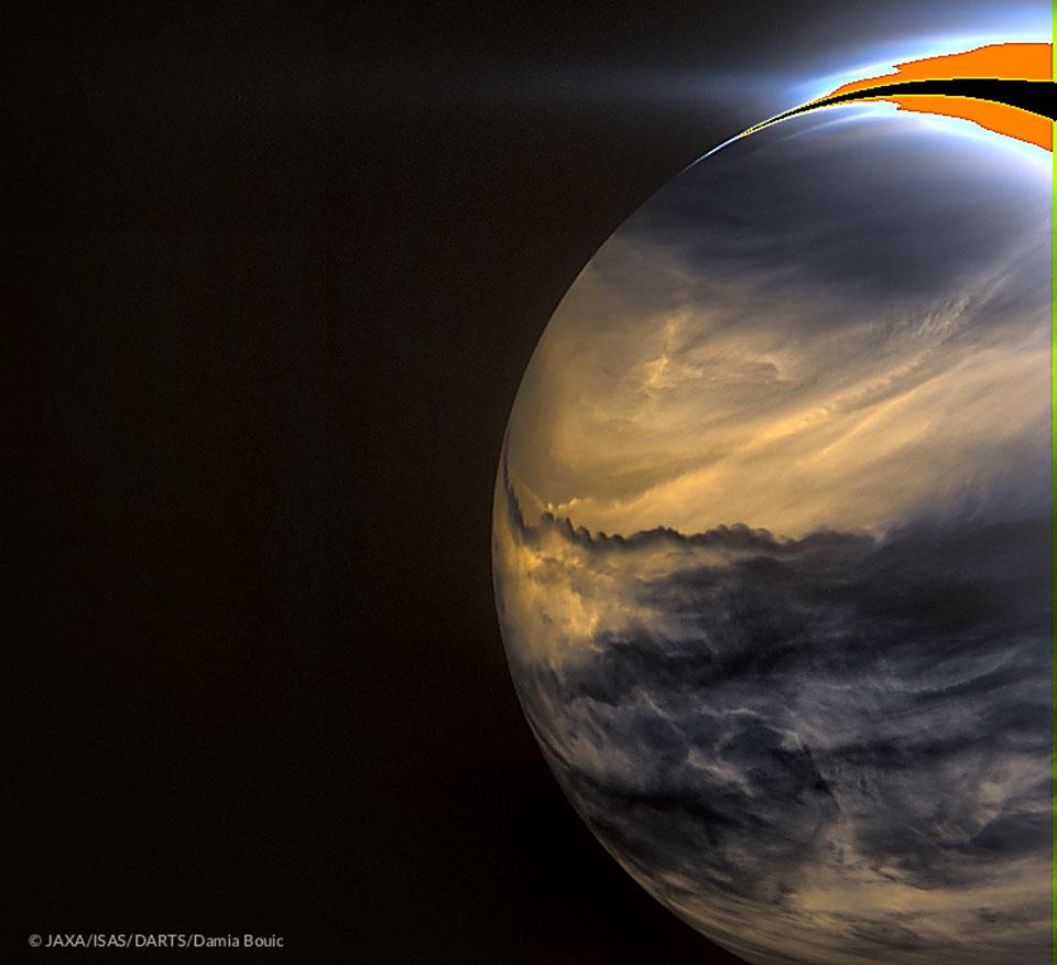 Vénus la nuit, vue dans l\'infrarouge par Akatsuki