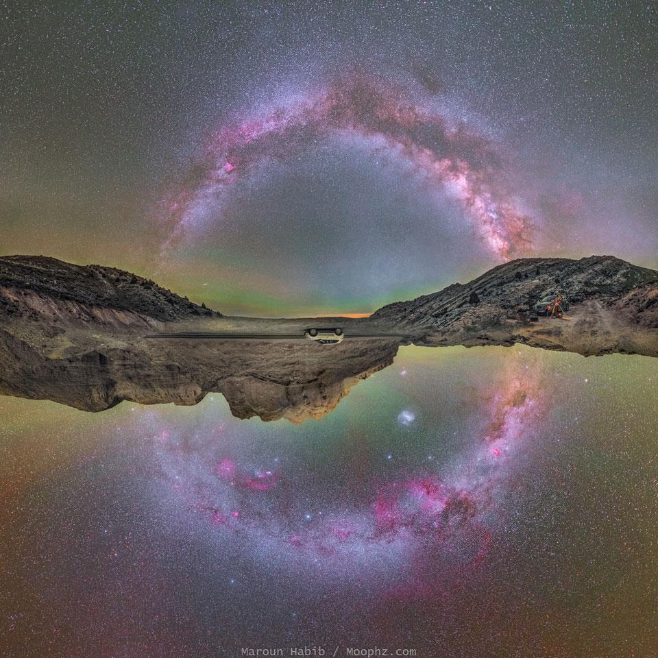 Le plan galactique tout entier, en haut et en bas