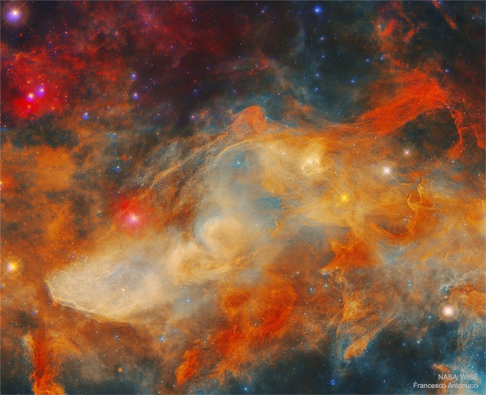 La nébuleuse bleue à la Tête de Cheval dans l\'infrarouge