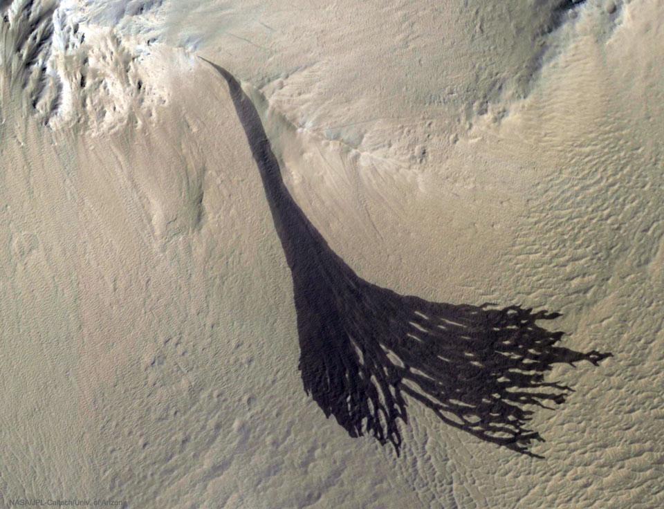 Des stries sombres se divisent sur Mars